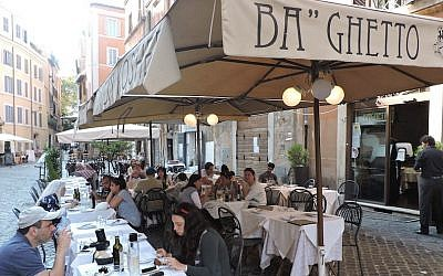 Diners at the Rome branch of Ba'Ghetto, a kosher eatery that operates three locations in Italy. (Ben Sales/JTA)