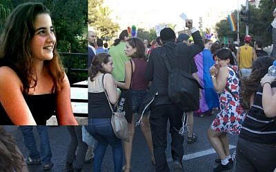 Yishai Schlissel attacking people with a knife during a Gay Pride parade in Jerusalem Thursday, July 30, 2015 and inset Shira Banki in a picture dated November 2013 taken from her Facebook page. (AP/Sebastian Scheiner and Facebook)