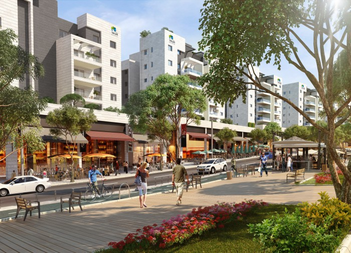 An illustration of Harish's main boulevard as it may look in the future. (Image courtesy of Hanan Mor)