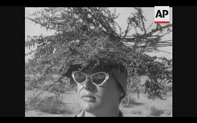 An IDF soldier practices camouflage in southern Israel in 1958 (Screenshot of newsreel footage from YouTube)