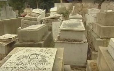 A tombstone in the rundown Jewish cemetery in Sidon, Lebanon. (Screen capture: YouTube)