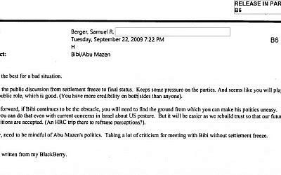 Email correspondence dated September 2009 between Sandy Berger and Hillary Clinton (screen capture: US State Department)