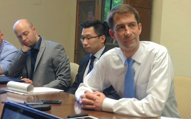 Sen. Tom Cotton speaking to Israeli reporters in his Washington office, August 4, 2015 (Raphael Ahren)
