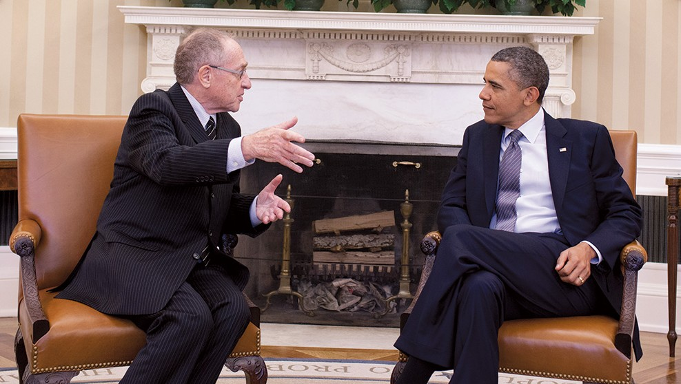 Prof. Alan Dershowitz with President Barack Obama in the Oval Office (Courtesy)