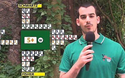 Israeli Bridge player Lotan Fisher at an international tournament in 2014. (screen capture: YouTube)