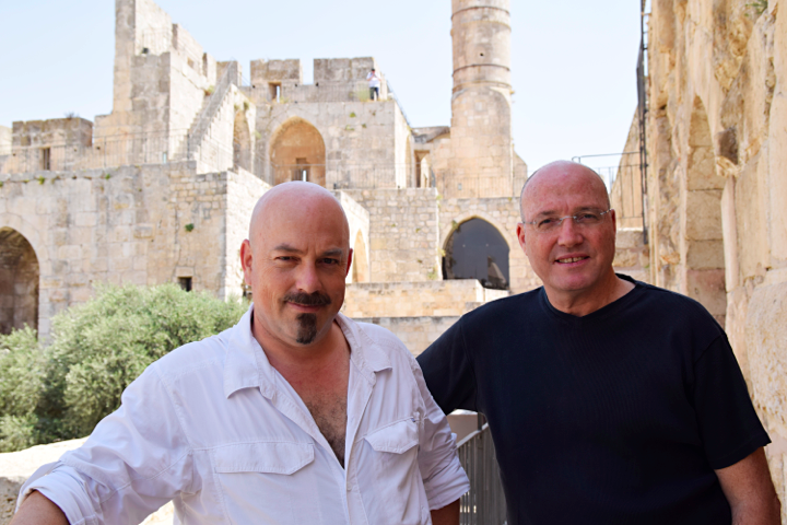 Designers and friends Haim Parnas and Ezri Tarazi (right) in the Tower of David (Hamutal Wachtal)