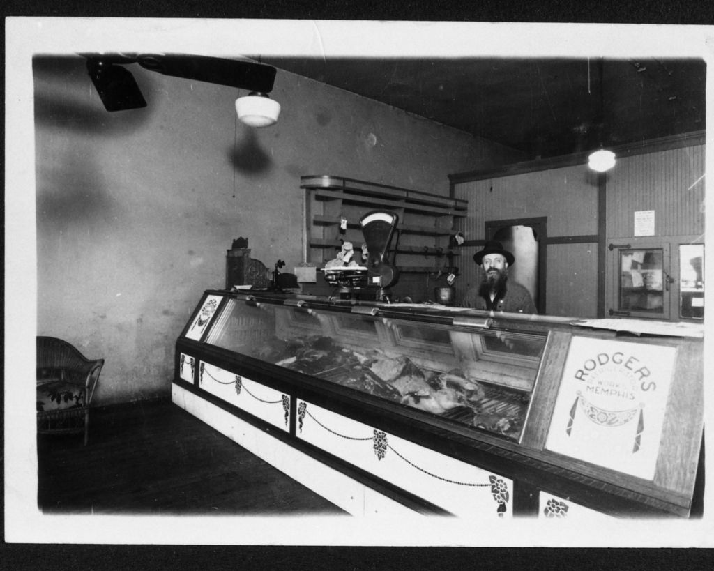 Rabbi Aaron Dubrovner's Kosher Butcher Shop at 318 North Main in the Memphis Pinch neighborhood, ca. 1920 (c 2015 Center for Southern Folklore Archives. From The Fagie Schaffer Collection)