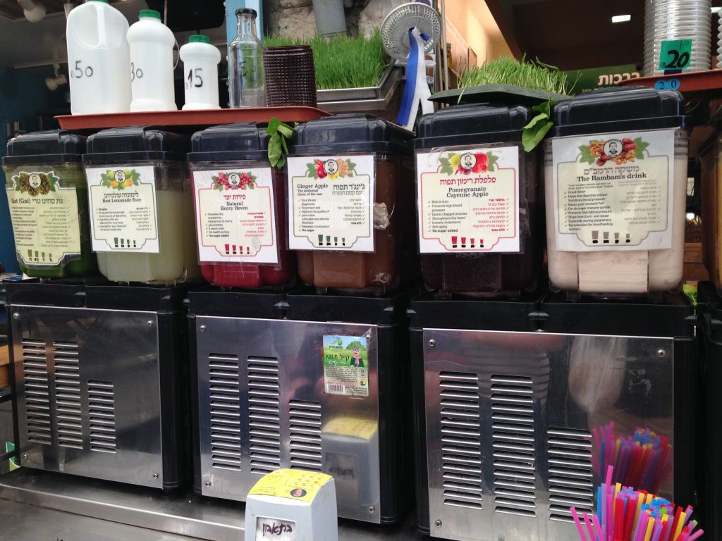 Juice for what ails you at Uzi Eli (Jessica Steinberg/Times of Israel)