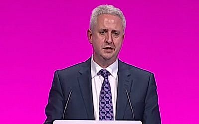 British Jewish Labour MP Ivan Lewis addresses his party's annual conference in Manchester in September 2014. (screen capture:YouTube)