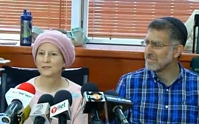 Sarah and Gedaliya Mayer, the parents of alleged Jewish extremist Mordechai Mayer, talk to the media about their son's administrative detention, on August 5, 2015. (screen capture: Channel 2)