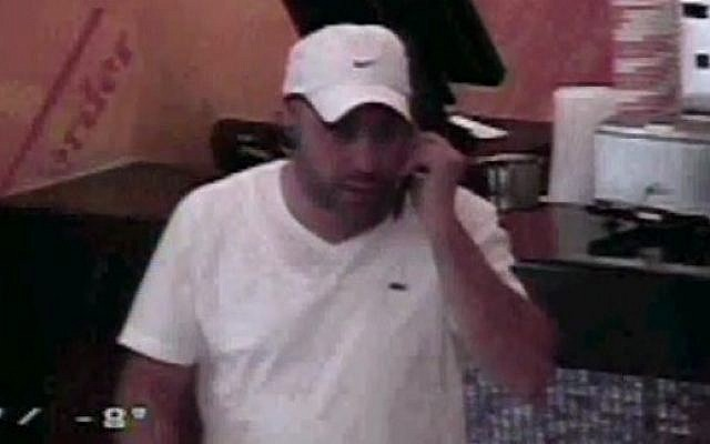 Screenshot from surveillance footage of alleged Israeli leader of organized crime ring in Los Angeles, Moshe Matsri. (Screenshot)
