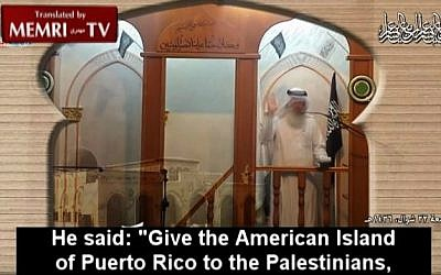 In an August 7 Friday sermon in Jerusalem, Sheikh Issam Amira of Hizb Al-Tahrir responded to a parody news site's report that Republican presidential candidate Donald Trump offered to resolve the Arab-Israeli conflict by relocating the Palestinians to Puerto Rico. (screen capture/MEMRI)
