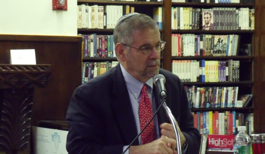 Dr. Michael Berenbaum, Holocaust scholar and two-time Academy Award winner, speaking at the Yeshiva University High School for Boys. (Names, Not Numbers)