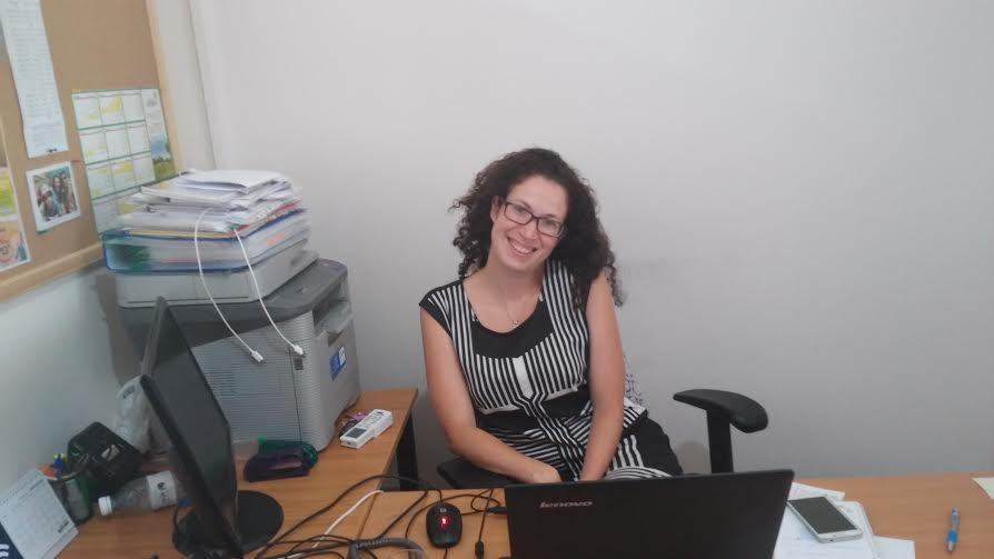 Miri Rahamim, spokeswoman for Harish, in her office (Photo by Simona Weinglass)