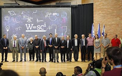 Fifteen Nobel Prize winners greet hundreds of students at the World Science Conference in Jerusalem, August 17 2015 (Courtesy)