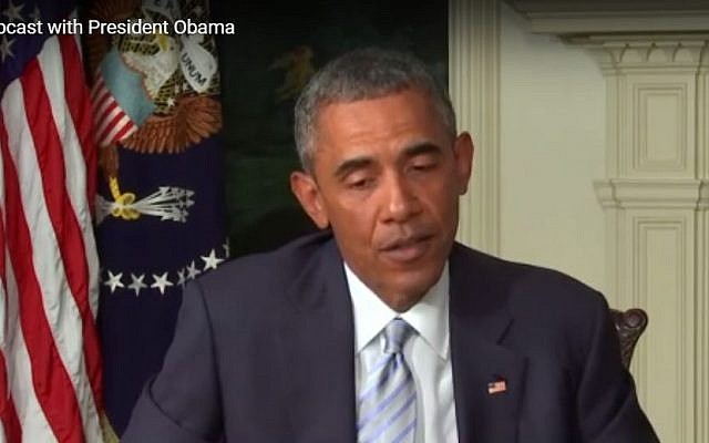 US President Barack Obama answers questions about the Iran deal in a live webcast sponsored by North American Jewish organizations, August 28, 2015. (screen capture: YouTube)