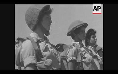 Israeli soldiers train in a 1958 newsreel marking the first 10 years of Israel's statehood (Screenshot of newsreel footage from YouTube)