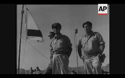 General Moshe Dayan inspects troops in southern Sinai in 1956 (Screenshot of newsreel footage from YouTube)