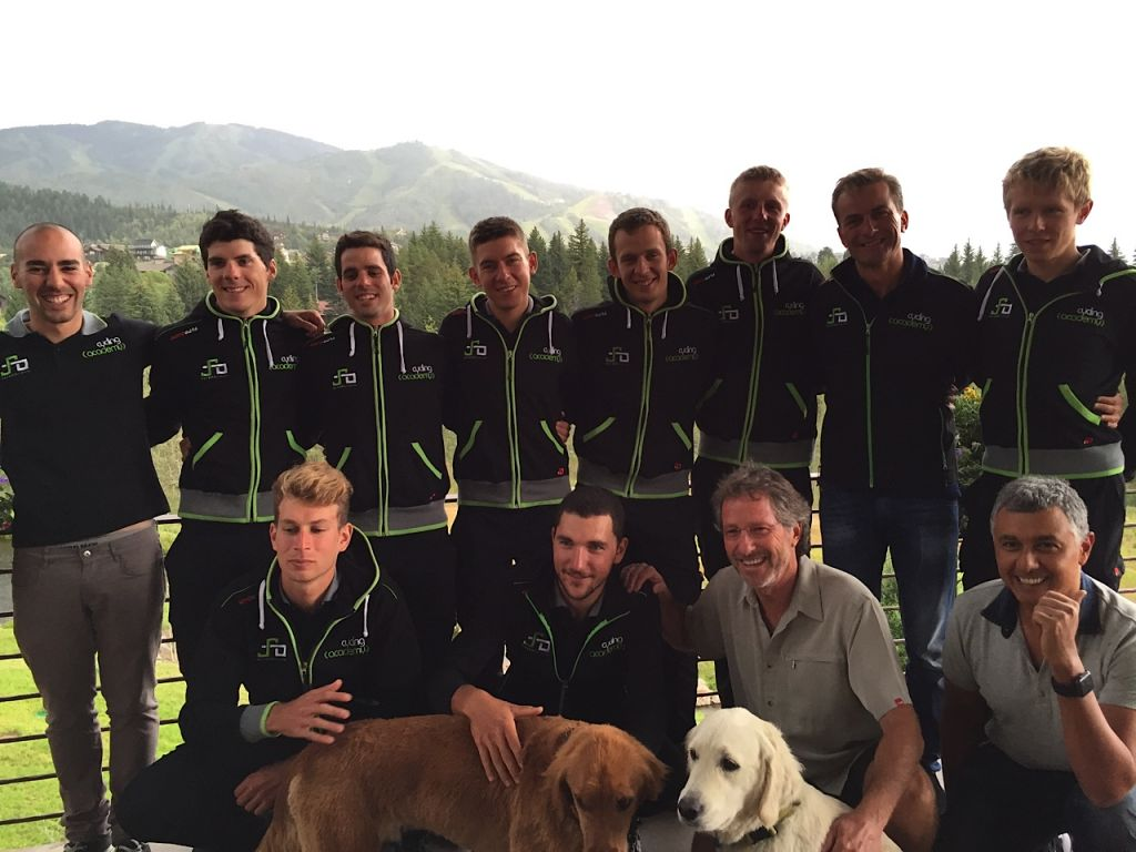 Members of the Cycling Academy, Israel's first professional team, were hosted by Michael and Michelle Osterman in Steamboat Springs, Colo., on the eve of the start of the USA Pro Challenge, August 16, 2015. (Courtesy of Cycling Academy/ via JTA)