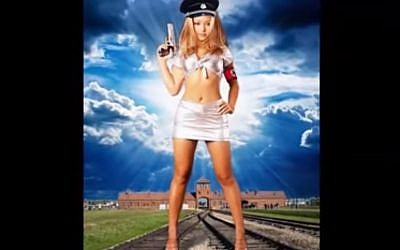 American glamour model Tila Tequila poses in a version of a Nazi uniform in front of Auschwitz in an image she posted on Facebook. Tequila was evicted from British reality show Celebrity Big Brother on August 28, 2015 after her pro-Nazi views emerged on the program. (screen capture: YouTube)