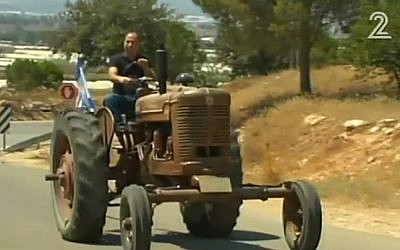 A tractor that once belonged to former prime minister Ariel Sharon (screen capture: Channel 2)