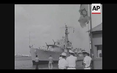 Israel receives warships from the UK in 1956 (Screenshot of newsreel footage from YouTube)