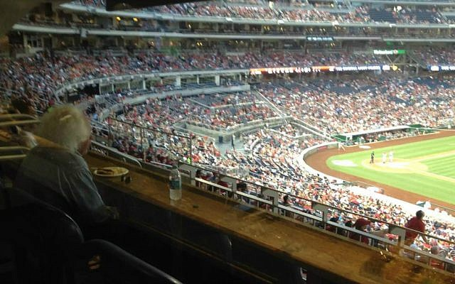 Leon Wieseltier watching the Washington Nationals play the Arizona Diamondbacks, August 4, 2015 (Raphael Ahren/TOI)