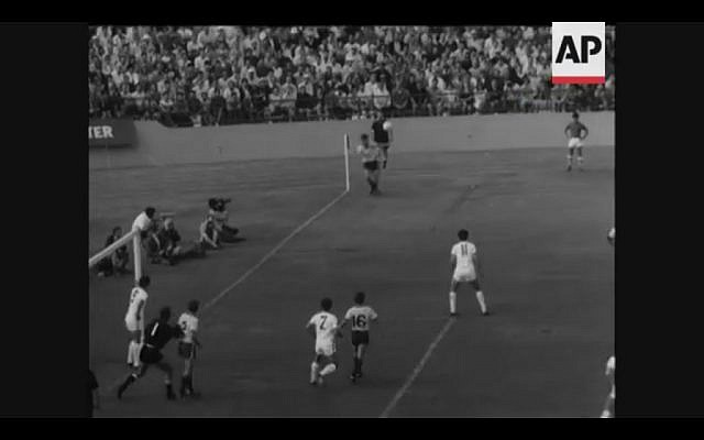 The white-shirted Israelis face off with Australia for the chance to advance to the 1970 World Cup in Mexico (Screenshot from newsreel footage from YouTube)
