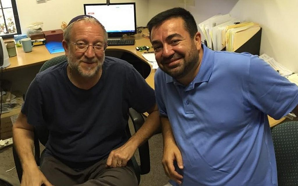 Yossi Klein Halevi (left) and Imam Abdullah Antepli, at Halevi's Hartman Institute office, August 2015 (DH / Times of Israel staff)