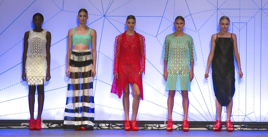 Danit Peleg's five-piece collection of 3D printed clothing and footwear (courtesy)