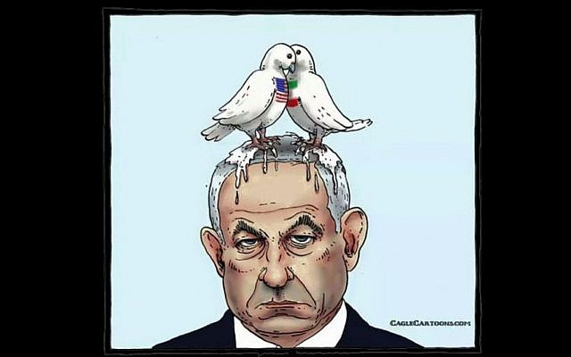 A cartoon of two doves bearing the American and Iranian flags defecating on the head of Prime Minister Benjamin Netanyahu. Switzerland apologized after the cartoon was shown by the Swiss ambassador to Iran at a business conference in Zurich on August 27, 2015.