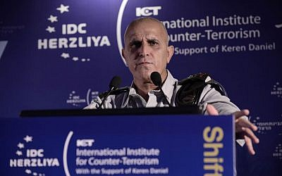 Maj. Gen. Sami Turgeman, commander of IDF Southern Command, speaks at the ICT conference in Herzliya, September 7, 2015 (Tomer Neuberg)