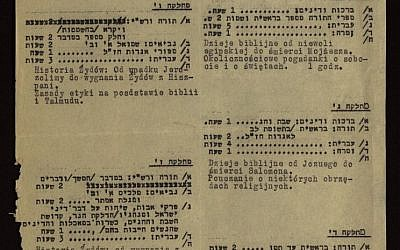 A Jewish school timetable from the Krakow gehtto in 1941. (Shem Olam)