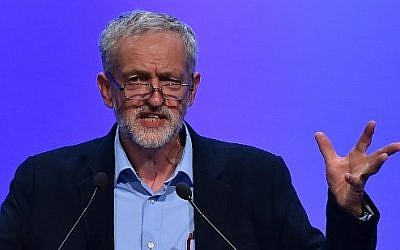 British opposition Labour party leader Jeremy Corbyn gestures as he speaks at the Trades Union Congress (TUC) in Brighton, south-east England, on September 15, 2015. (AFP PHOTO / BEN STANSALL)