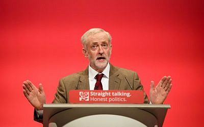 File: Britain's Labour Party Leader Jeremy Corbyn speaking at the annual Labour Party Conference in Brighton, south east England, September 29, 2015.  (AFP/Leon Neal)