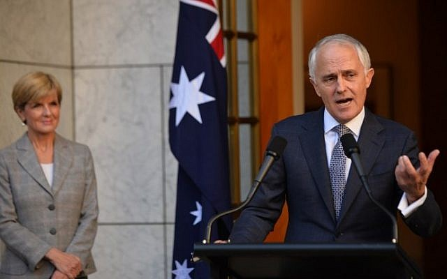 New Australian Prime Minister Malcolm Turnbull (R) announces his new cabinet at a press conference as Minister for Foreign Affairs Julie Bishop (L) looks on in Canberra on September 20, 2015. (Peter Parks/AFP)
