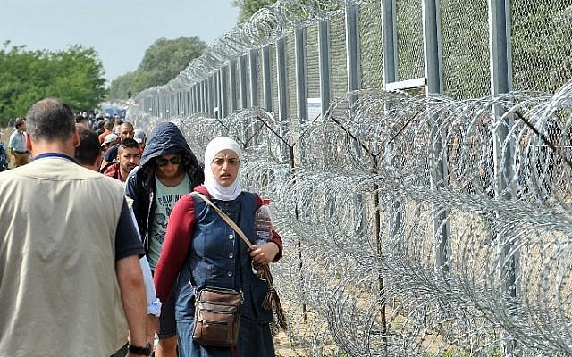 Migrants and refugees walk near razor-wire along a 3-meter-high fence at the official border crossing between Serbia and Hungary, near the northern Serbian town of Horgos on September 15, 2015. (AFP PHOTO / ELVIS BARUKCIC)