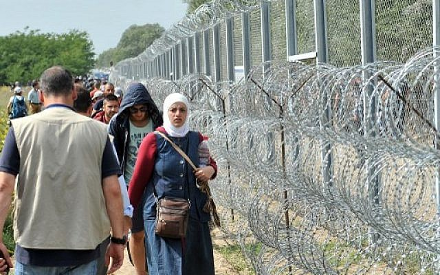 Migrants and refugees walk near razor wire along a 3-meter-high fence at the official border crossing between Serbia and Hungary, near the northern Serbian town of Horgos, on September 15, 2015. (AFP/Elvis Barukcic)