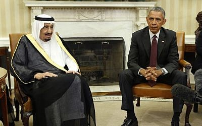 US President Barack Obama with King Salman of Saudi Arabia in the Oval Office at the White House in Washington, DC, on September 4, 2015. (AFP/Yuri Gripas)