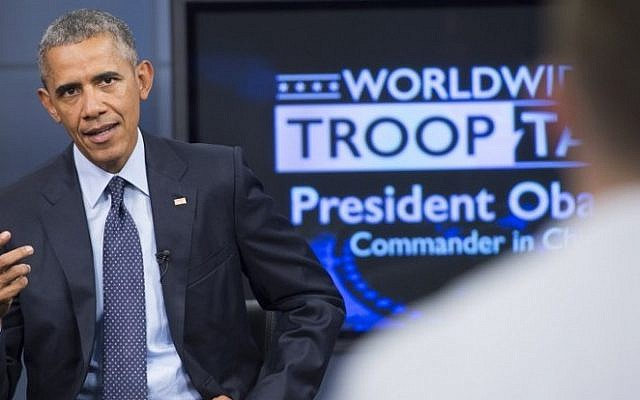 US President Barack Obama speaks during a 'Worldwide Troop Talk,' a town hall with US members of the military around the world broadcast from Fort Meade in Maryland, September 11, 2015. (AFP PHOTO/SAUL LOEB)