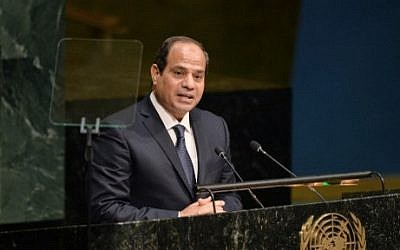 Abdel Fattah Sissi, President of the Arab Republic of Egypt, speaks the United Nations Sustainable Development Summit to the at the United Nations General Assembly in New York September 25, 2015.  (Dominick Reuter/AFP)
