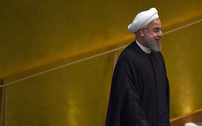 Hassan Rouhani, president of Iran, arrives to speak the United Nations Sustainable Development Summit at the United Nations General Assembly in New York on September 26, 2015. (AFP/Timothy A. Clary)