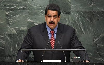 Venezuelan president Nicolas Maduro speaks to the United Nations Sustainable Development Summit at the United Nations General Assembly in New York on September 27, 2015. (Photo by AFP Photo / Timothy A. Clary)