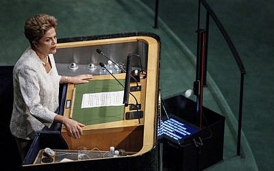 President of Brazil Dilma Rousseff addresses the 70th session of the UN General Assembly at the United Nations on September 28, 2015 in New York. (AFP/KENA BETANCUR)