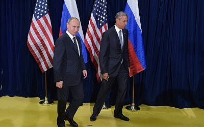 US President Barack Obama and Russia's President Vladimir Putin leave after posing for a photo ahead of a bilateral meeting on the sidelines of the 70th session of the UN General Assembly at the United Nations headquarters on September 28, 2015 in New York. (AFP PHOTO/MANDEL NGAN)