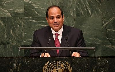 Egyptian President Abdel Fattah Sissi addresses the United Nations General Assembly on September 28, 2015 in New York City. World leaders gathered for the 70th session of the annual meeting. (John Moore/Getty Images/AFP)