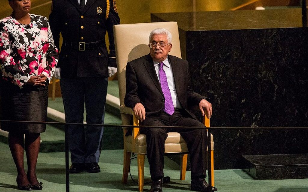 Palestinian Authority President Mahmoud Abbas waits to speak at the United Nations General Assembly on September 30, 2015 in New York City (Andrew Burton/Getty Images/AFP)