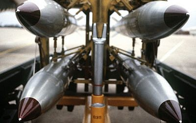 Illustrative: B61 nuclear bombs on a rack. (Courtesy US Department of Defense)