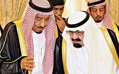 Former Saudi King Abdullah (right) talks with then  Crown Prince Salman bin Abdel-Aziz in Taif June 19, 2012. (Photo by Reuters/Saudi Press Agency/Handout)