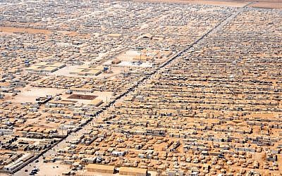 The Za'atri camp for Syrian refugees as seen from a helicopter carrying US Secretary of State John Kerry and Jordanian Foreign Minister Nasser Judeh on July 18, 2013. (State Department photo/public domain)